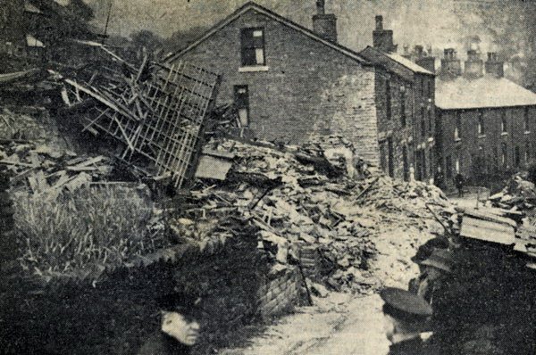 Bomb damage at Hayfield