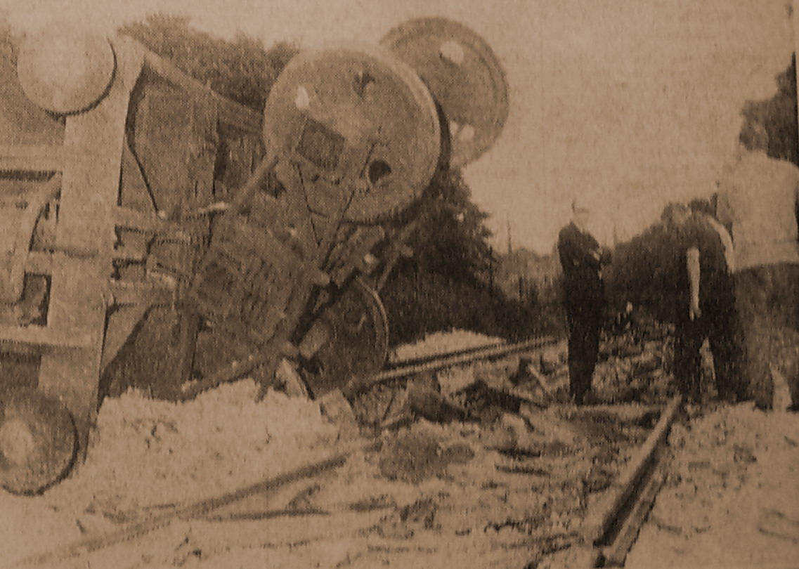 Derailed wagons blocking the Buxton line at Newtown
