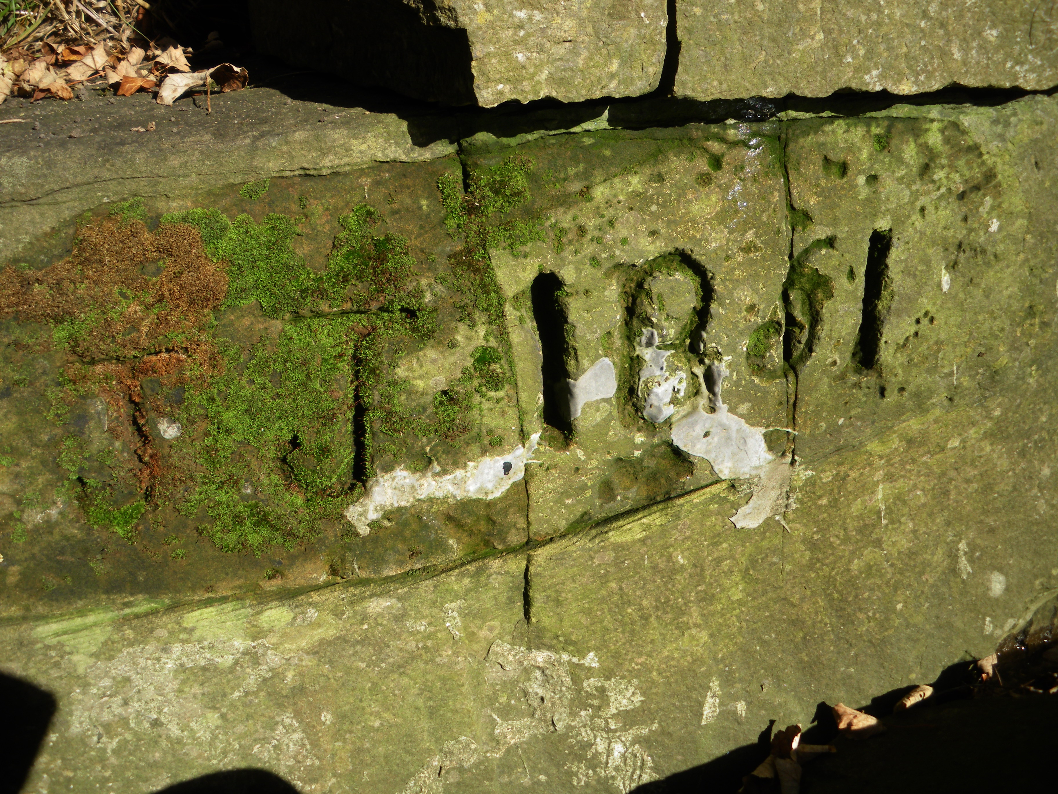 JJ 1861 (Jonathan Jowett) is carved on rocks below the Millennium Bridge. It marks where a sough driven from Eaves Knoll Colliery, above Meadow Street exits into the river Goyt. Its not hard to imagine JJ wanting to mark the completion of so long a shaft.