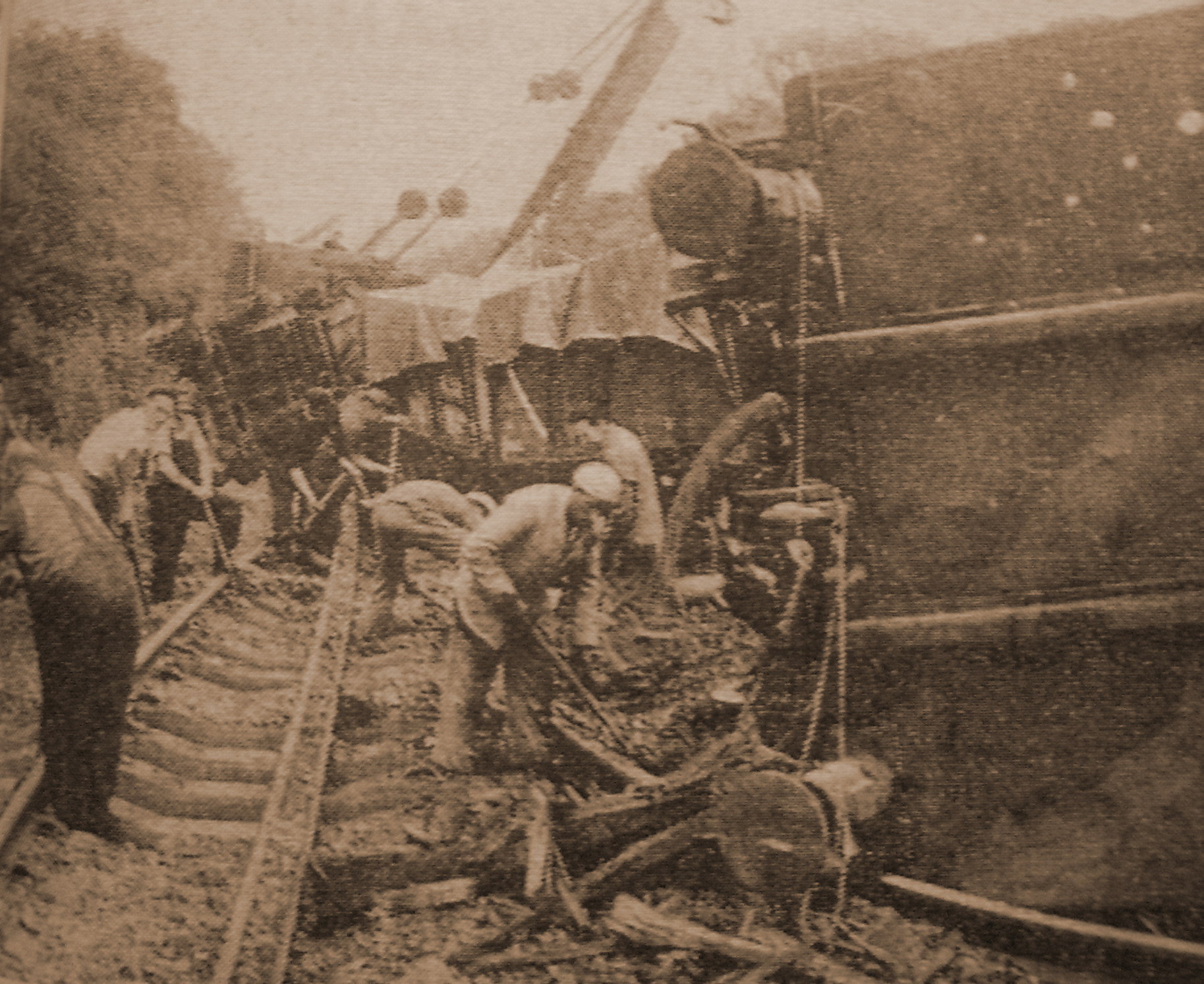 Some of the 33 derailed wagons