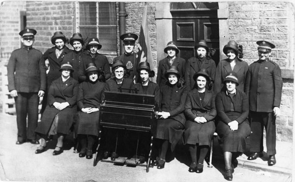 Salvation Army Songsters in High Street. Jane Wigley far left front row, Irene Pyatt behind her